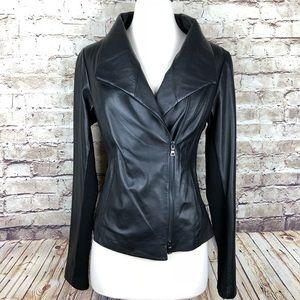 Vince Lambskin Black Leather Scuba Moto Jacket